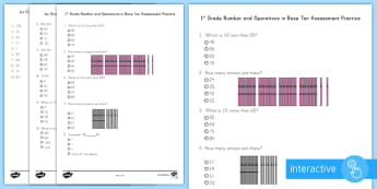 1st Grade Number and Operations in Base Ten Online Assessment Practice Go Respond Activity Sheet  - Common Core Math, first grade, problem solving, testing, online assessments, number and operations i