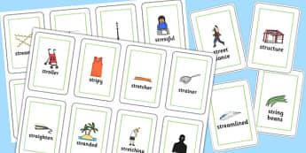 Two Syllable STR Flash Cards - sen, sound, str sound, str, two syllable, flash cards