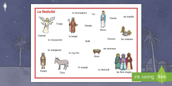 Set de mots : La Nativité - Noël, Christmas, Nativité, Nativity, mots, words, vocabulaire,French - Noël, Christmas, Nativité, Nativity, mots, words, vocabulaire,French