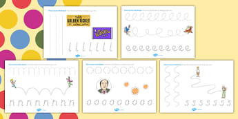 Roald Dahl Themed Pencil Control Worksheets - fine motor skills