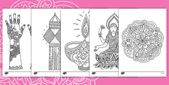 Diwali Themed Mindfulness Colouring Sheets - colouring, pd, fine motor skills, well being, stress, relax, unwind, early years, ks1, ks2, art, home learning, display
