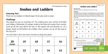 Snakes and Ladders Design Activity Sheet - Amazing Fact Of The Day march, activity sheets, powerpoint, starter, morning activity, March, snakes