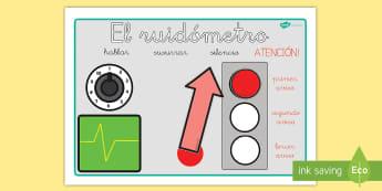 El ruidómetro - ruido, manejo de la clase, manejo del aula, controlar ruido, sonido, comportamineto, póster, ayuda