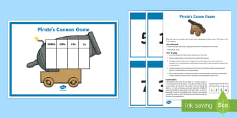 Place Value Pirate's Canon Game - Maths, Key Stage 2, Place Value, ks2, partition, recombine, 3 digit numbers, hundreds, tens, units,
