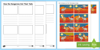 Aboriginal Dreamtime How the Kangaroos Got Their Tails Storyboard Template - aboriginal dreamtime, dreamtime, aboriginal, story, how the kangaroos got their tails, kangaroo, storyboard, template