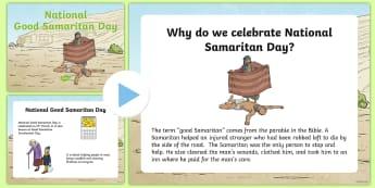 National Good Samaritan Day PowerPoint -  Diwrnod Cenedlaethol Y Samariad Trugarog, National Good Samaritans Day, Y Samariad Trugarog,  Diwrn