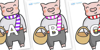 A-Z Alphabet on Little Piggy - A-Z, A4, display, Alphabet frieze, Display letters, Letter posters, A-Z letters, Alphabet flashcards