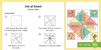 End of Year Fortune Teller - End of Year, chatterbox, chatterboxes, end of year game, end of year activity sheet, end of year wor