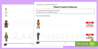 Me and My Name Patterns Pencil Control Activity Sheets - KS1, Me and My Name, handwriting, practise, writing, letters, formation, pen to paper, skill, skills