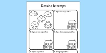 Draw the Weather Worksheet French - france, nature, science, forecast, activity, task, learning, modern, foreign, language, art