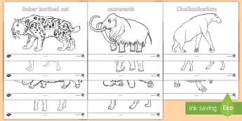 Stone Age Animals Colouring Pages - Stone Age Animals Large Display Cut Out Pack - stone age, animals, display, scavengers and settlers,