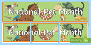 National Pet Month Display Banner - KS2 National Pet Month (April 2017)