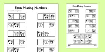 Farm Themed Missing Numbers Worksheet 10-20 - farm, missing numbers, worksheet, 10-20, missing, numbers