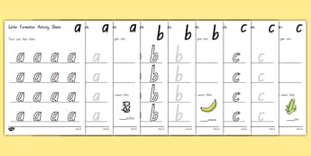 A-Z Letter Formation Activity Sheets NZ - nz, new zealand, a, z, letter, formation, letter formation, worksheets, alphabet, words, literacy, reading, forming letters