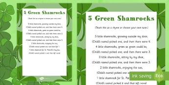 5 Green Shamrocks Rhyme - St Patricks Day, green, shamrock, rhyme, eyfs
