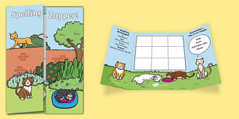 Cat Themed Blank Spelling Zapper - spelling zapper, spell, spelling, zapper, dyslexic, dyslexia, learn, tricky words, personalise, words, blank, cat
