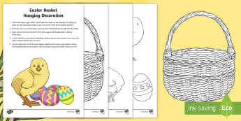 Easter Basket Hanging Decoration Craft Instructions - Easter, chicks, eggs, basket, cutting, sticking, gluing, art, instructions, craft, fabric and fibre,