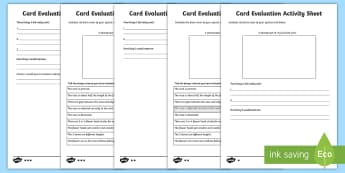 Mother's Day Card Evaluation Differentiated Activity Sheets - KS1 Mother's Day, evaluation, evaluating, evaluation sheet, DT, Art, KS1, reflection, differentiate