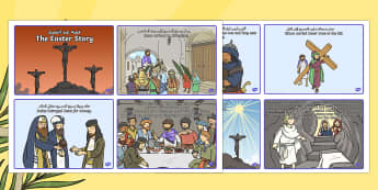 Easter Story Sequencing Cards Arabic/English - Easter Story Sequencing Shortened 8 Cards - easter, story, cards, story sequncing, squencing, easter