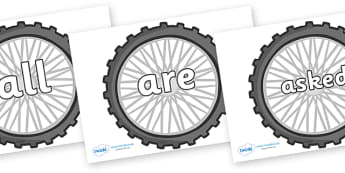 Tricky Words on Bike Wheels - Tricky words, DfES Letters and Sounds, Letters and sounds, display, words