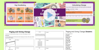 Paying and Giving Change  PowerPoint - Money, paying, change, Maths, , pp, ppt, Add and subtract amounts of money to give change, using bot