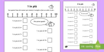 1 in più 2 in più Attività - 1, in, più, addizione, calcoli, matematica,semplice, esercizio, italiano, italian, materiale, scola