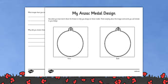Anzac Medal Design Worksheet - australia, Australian Curriculum, 3-4, Events, ANZAC Day AND Australian Curriculum,  5-6, Events, ANZAC Day