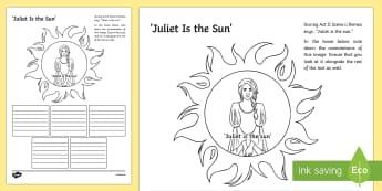 Romeo and Juliet: Juliet is the Sun Act II, Scene ii Activity Sheet - romeo, juliet, connotations, act II scene ii, act 2 scene 2, sun, love