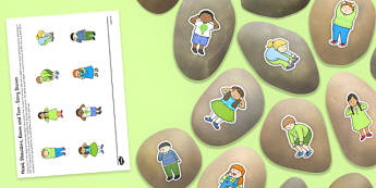 Head, Shoulders, Knees and Toes Story Stones Image Cut-Outs -  rhyme, song, body, science