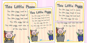 This Little Piggy Nursery Rhyme Poster - posters, displays, pigs