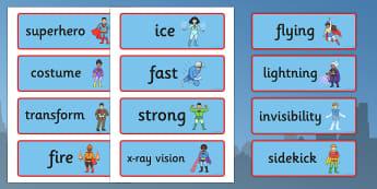 Superhero Word Cards - Superhero, superheroes, hero, word card, flashcards, writing aid, batman, superman, spiderman, special, power, powers, catwoman, liono, he-man