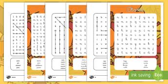 Sopa de letras de atención a la diversidad: Otoño - otoño, sopa de letra, tractor, cosecha, buscar, vocabulario, actividad, puzle, puzzle, juego,,Spani