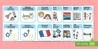 SEN Visual Timetable for School Afrikaans/English - SEN Visual Timetable for School - sen visual timetable, school visual timetable, simple visual timet