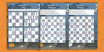 Halloween Sudoku - halloween, sudoku, halloween games, halloween activites, themed sudoku, themed games, wet play, numeracy games, class games, activities