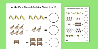 At the Park Themed Addition Sheet 1-10 - at the part, themed, addition, sheet, 1-10