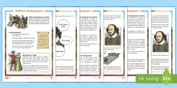 KS2 William Shakespeare Differentiated Fact File - William Shakespeare, William, Will, plays, birthday, facts, factfile, fact files