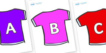 A-Z Alphabet on T-Shirts - A-Z, A4, display, Alphabet frieze, Display letters, Letter posters, A-Z letters, Alphabet flashcards