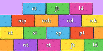 Final Letter Blends on Bricks (Multicolour) - Final Letters, final letter, letter blend, letter blends, consonant, consonants, digraph, trigraph, literacy, alphabet, letters, foundation stage literacy