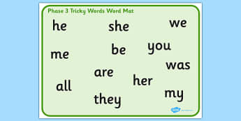 Phase 3 Tricky Words Word Mat - mats, trick, visual, aid, aids