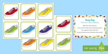 Shoe Pairs Colour Matching Busy Bag Prompt Card and Resource Pack - The Elves and the Shoemaker, traditional tales, Christmas, colours, pairs, rainbow, spectrum