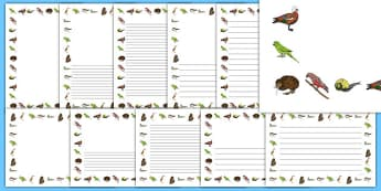 New Zealand Animal Page Borders - New Zealand Animals Display Posters, animals, New Zealand, page border, border, writing template, writing aid, writing,  kiwi, parakeet, gecko, skink, grey teal, parrot, paradise shelduck