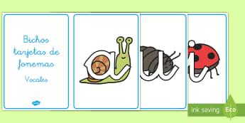 Tarjetas de fonemas: Vocales - Bichos - Bichos, leer, lecto, lectura,