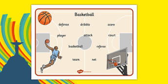 Rio 2016 Basketball Word Mat - rio 2016, 2016 olympics, rio olympics, basketball, word mat