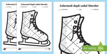 Iarna Colorează după codul literelor - Winter, iarnă, anotimp, fișă de lucru, colorează, cod, litere, clasa pregătitoare, clasa I, ima
