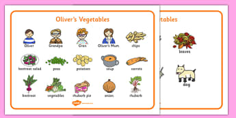 Oliver's Vegetables Word Mat - Oliver's vegetables, keywords, mat