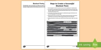 Blackout Poetry Activity - Blackout poetry activity, national poetry day, poetry, writing, poetry ideas,Scottish