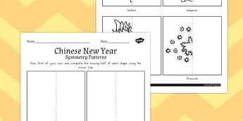 Chinese New Year Symmetry Activity Sheet - australia, activity, worksheet