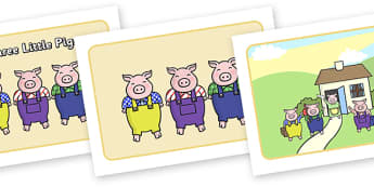 The Three Little Pigs Story Sequencing (with Speech Bubbles) - Three little pigs, sequencing, traditional tales, tale, fairy tale, pigs, wolf, straw house, wood house, brick house, huff and puff, chinny chin chin
