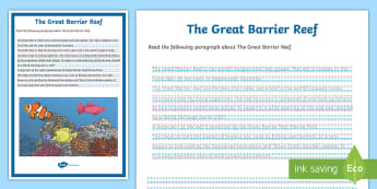 The Great Barrier Reef Handwriting Activity Sheet - creating texts, handwriting, worksheet, Legible, informative, geography, earth