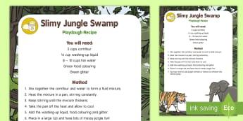 Slimy Jungle Swamp Playdough Recipe - Jungle and Rainforest, messy play, slime, swamp, playdoh, playdough